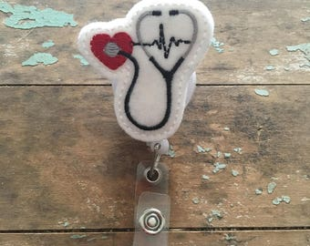 Stethoscope  ID badge reel holder retractable clip