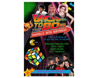 80's Theme  Birthday Party Invitation - YOU PRINT