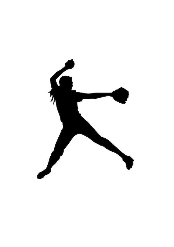 Softball pitcher SVG silhouette decal outline logo cricut