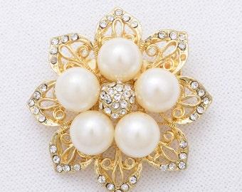 Gold Pearl Brooch Rhinestone Gold Brooch Pearl Brooch Wedding Jewelry Gold Bridal Brooch Wedding Gold Brooches