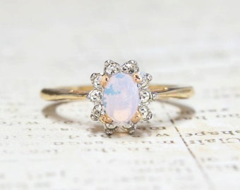 Vintage Lab Opal ring with Clear Austrian Crystals on Two Tone Accent October Birthstone Color Made in USA #R1291