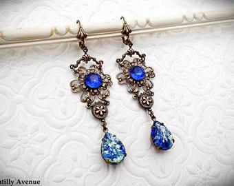 Blue Opal Vintage Style Victorian Earrings, Filigree Flower Earrings, Sapphire Long Dangle Earrings, Art Nouveau Victorian Jewelry