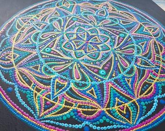 "Hand Painted Wall Hanging Wooden Mandala ""Harmony In Acceptance"", Wall hanging art, spiritual art,yoga studio decor,meditation"