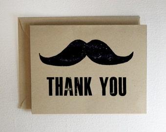 Mustache Thank You Card