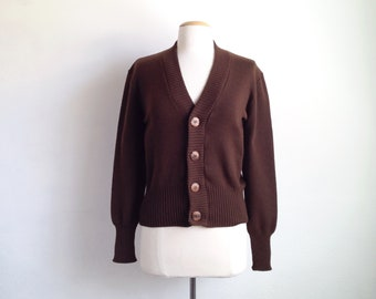 vintage cardigan sweater womens 70s sweaters wool cardigan 80s fitted cardigan womens brown sweater small