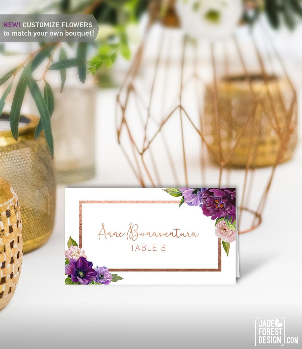 Purple Name Cards / Wedding Place Cards Food Label / Purple