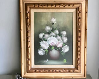 vintage oil painting flowers vase still life signed white and soft lavender gold toned carved frame