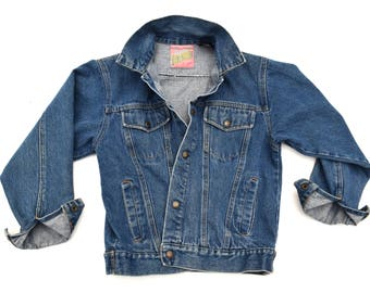 70s Vintage Denim Jacket Slim Fit Jean Jacket Faded Distressed Dark Denim Jacket Denim Blue Jean Jacket Tomorrows Generation Denim XS / S