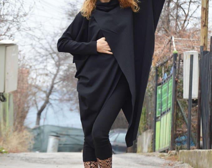 Long Turtleneck Tunic Top, Asymmetric Black Maxi Tunic, Long sleeved Oversize Tunic, Wool Boucle Top by SSDfashion