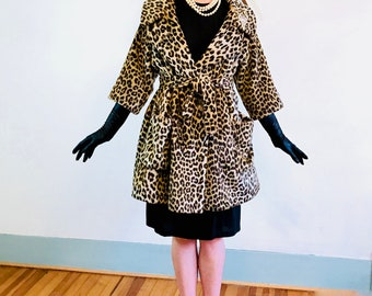 50s Leopard Coat, SACKS FIFTH AVENUE, Leopard print coat, Cheetah Print Coat, 50s Trapeze Coat, Leopard Swing Coat, Faux Leopard Fur, belted