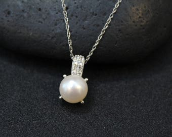 Sterling Silver Pearl and CZ Necklace, Sterling Pearl Jewelry, Sterling Silver Pearl and CZ Pendant, Silver Pearl Jewelry, June Birthstone