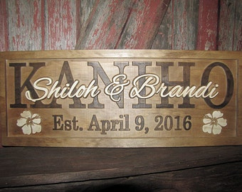 Personalized Wedding Gift Family Name Signs Hawaii Hibiscus Flower sign 3D CARVED Custom Wooden Sign Last name Couples gifts Personalized
