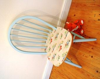 Upcycled Wooden Chair, Farrow and Ball, Eggshell, Blue, Cath Kidston, Cars, Boys Room, Boys Décor, Boys Bedroom Chair