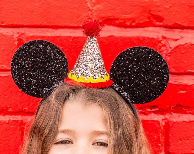 Glittery Mouse Ears Headband | Birthday Ears | Headband | Ears | Mouse Birthday |Mouse Ears