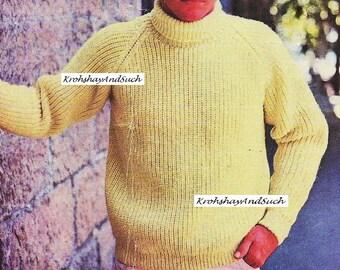 Mens Raglan Style, Fishermans Rib Sweater, Plus Size, Knitting Pattern. PDF Instant Download.