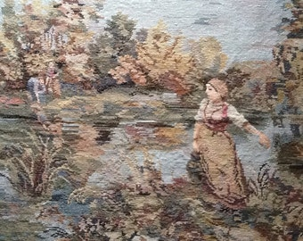 Large Completed Wool Tapestry, Hand Stitched,  Exceptional Detail, Pastoral Countryside Scene, Vintage French