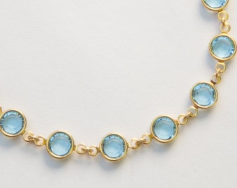 Gold Aquamarine Bracelet, March Birthstone Jewelry, Pale Blue Swarovski Crystal Bracelet, Aquamarine Jewelry