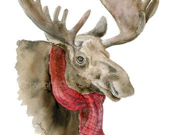Moose in a Scarf Watercolor Painting - 8 x 10 / 8.5 x 11 - Giclee Print - Lodge Christmas Art