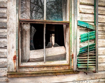 Broken window and shutter, Abandoned house, Old Rustic, Texture and Patina, Teal and Orange, Old windows, Signed Photography print.