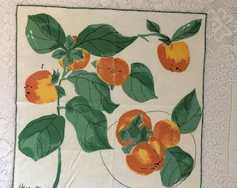 vintage Vera Neumann napkin, Vera ladybug print, Vera Neumann peaches