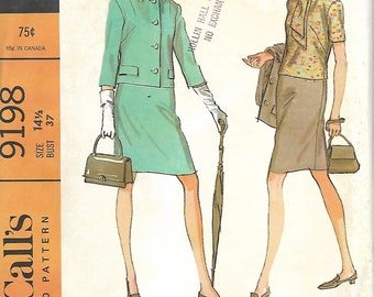 1960's McCall's 9198 Misses Suit And Overblouse Pattern, Size 14 1/2, UNCUT