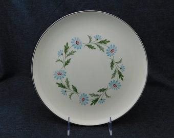 """Vintage Taylor-Smith-Taylor Versatile Blue Daisy Dinner Plate - 10"""" Diameter - Smiling, Happy Flowers, Floral, Daisies, Aqua, Turquoise"""