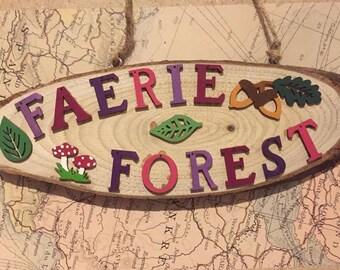 "Handmade ""Faerie Forest"" Wooden Sign"