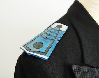 Tooled Leather Feather Epaulettes - Navy Blue and Silver Military Inspired Pin Shoulder Epaulette Set Custom Made to Order