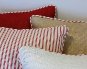 Burlap or Red Ticking Christmas Pillow Cover