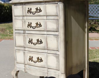 SOLD - Vintage French provincial nightstand / night stand / night table / side table  genuine cherry shabby chic boho by Parmacraft ivory wh