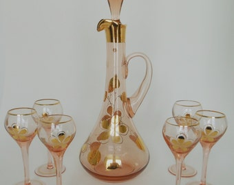 Sensational Mid-Century Hungarian Glass Decanter Set