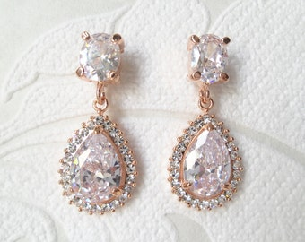 Rose Gold Plated Bridal Halo Pierced or Clipon Earrings with Swarovski Crystal for 1920s Wedding Chandeliers or Victorian Prom Jewelry