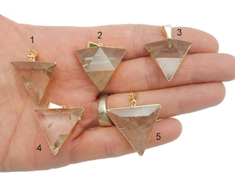 Quartz Pendant with Electroplated 24k Gold Edge - Triangle Pendant - YoU ChOOse (Lot G-1302)