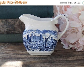 ON SALE Wedgwood Royal Homes of Britain Blue Transferware Creamer Made in England Replacement China
