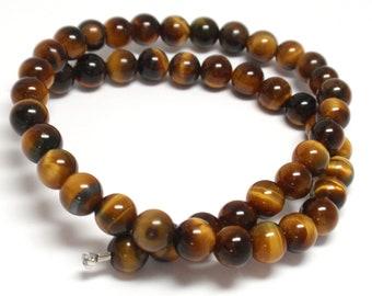 "Tigers Eye Round Beads, 6mm Tigers Eye Natural Gemstone Beads, 11"" Strand - 48 Beads"