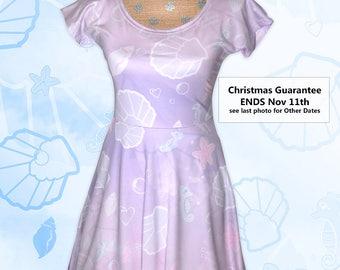 Kawaii Marine Ocean Mermaid Cap Sleeve Dress Printed Dress Splash Dream Seashell Pastel Fairy Kei Aquatic Seahorse Size XS - 5XL *PreOrder*