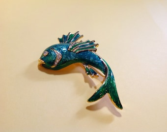 Flying Fish Brooch Green Enamel with Clear Rhinestones