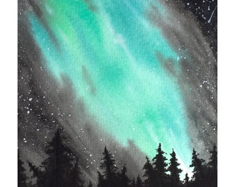 Aurora Forest - Original Watercolor 8x6