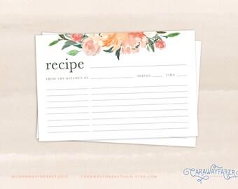 Floral Recipe Cards Printable 4x6 Recipe Card Template Kitchen Garden Summer Recipe Card Bridal Shower Printables Blush Rose Green Peach