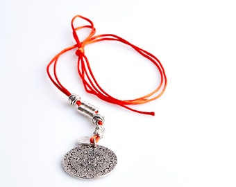 ART33 Red Necklace with Silver Pendant