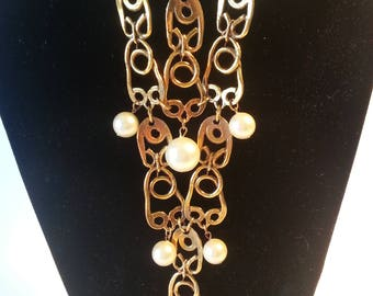 Gold and Pearl Statement Necklace