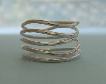 Sterling Silver Spiral Ring, Hammered spiral ring in Sterling Silver, Sterling Silver swirl ring, Wire wrapped ring, wire ring
