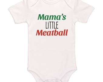 Mama's Little Meatball Bodysuit - Cute Baby Clothing For Baby Boys And Baby Girls, Adorable One-Piece Outfit