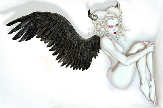 "Fallen Angel ""Supplicate"" Milk Bath Version stretched canvas print"