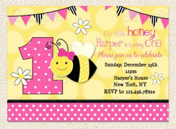Pink Bumble Bee Birthday Invitations DIY Printable
