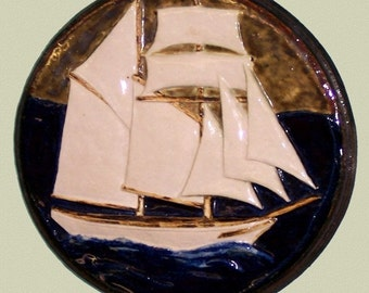 Ceramic Ship Plate Original  Relief Boat Tile Sculpture