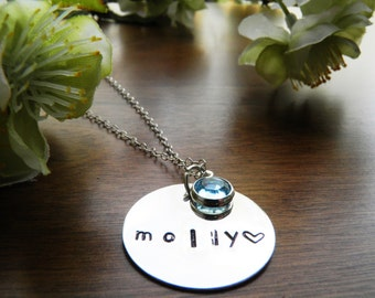 Customizable Necklace with Birthstone Charm -Mom Gifts, Silver, Hand Stamped, Personalized