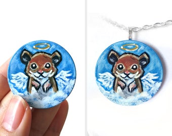 Hamster Necklace, Pet Memorial, Angel Keepsake Gift for Her, Hand Painted Wood Jewelry, Pet Portrait, Animal Painting, Blue Pendant