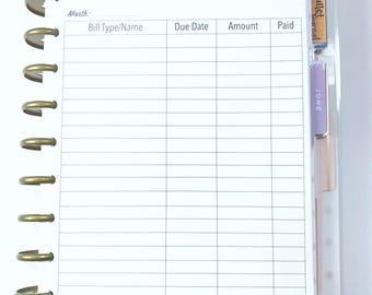 Bill Tracker, Bill Pay Inserts for Medium, Classic Happy Planner, Discbound Planner