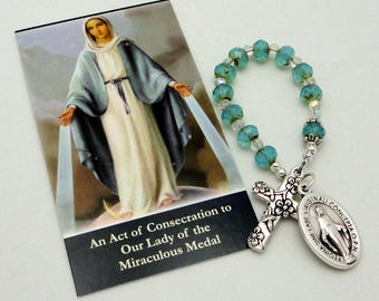 Our Lady of the Miraculous Medal Catholic Single Decade Chaplet in Picasso Czech Glass with TierraCast Pewter Floral Cross